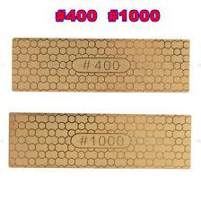 Two Sides Diamond Plate Ti Titanize Knife Sharpening Stone Whetstone 400#/1000#