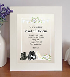 MAID OF HONOUR Free-Standing Thank You Poem Lovely Wedding Favour Present Gift
