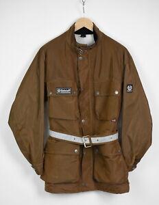BELSTAFF Men's MEDIUM Brown Nylon Shell Shiny Look Belted Jacket 35343-GS