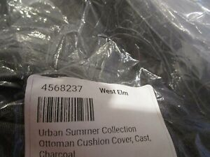 West Elm Urban Summer Collection Ottoman Cushion Cover Cast Charcoal sunbrella
