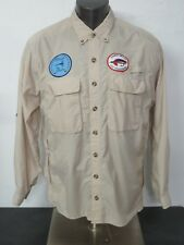 ExOfficio Brown Fly Fishing Trout Bum Patch Shirt Long Sleeve Vented Men's L