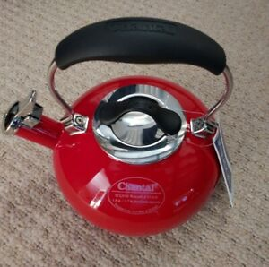 Chantal Eclipse Red Enamel on Steel Retro Whistling 1.8 Qt Kettle  NEW