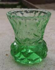 DEPRESSION  GREEN  GLASS DIAMOND CUT THISTLE BUD VASE