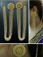 Indian Ethnic Fashion Pearl Long Bollywood Designer Wedding Jewelry Earring Set