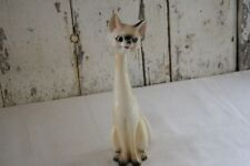 """Vintage Siamese Cat Figure Tall Slender Brown Black Accents on Cream Body 12"""""""