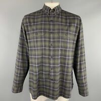 TOM FORD Size XL Navy & Green Cotton Button Down Flannel Shirt