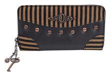 Steampunk Brown Black Stripes Wild West Key Charm Zip Around Wallet