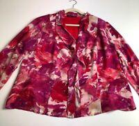 Jones New York Women's Long Sleeve Button Up Blouse Top 18 W Pink Purple Floral