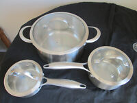 Kenmore Stainless Steel Cookware 6 pc. Set Tri-Ply Bottoms Solid Handles