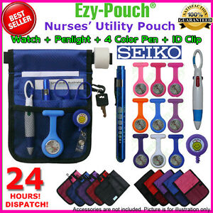 Value Pack Quality Nurse Pouch/ Bag+Watch+Medical Pen Light+Extra Watch Battery