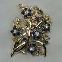 Blue Floral Bouquet Gold Tone Blue Rhinestone Flower Vintage Brooch Pin