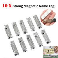 10x magnetische Namensschilder Name Tags Abzeichen Metall Verschluss ID Karte