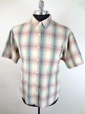 Vintage Mens Plaid Shirt Size XL SS Russ Beige Pink Green Unique Buttons Retro