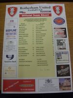 01/04/2002 Colour Teamsheet: Rotherham United v Millwall (folded, score on front