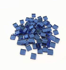 10mmx10mm Blue Small Glass Square Mirrors 100 Pieces Crafts Mirror Mosaic Tiles