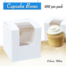 Cupcake Boxes White 100 x Single -Party Favour Box Wedding Bomboniere Decorating