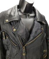 Harley Davidson Women Genuine Leather/Nylon Motorcycle Jacket Size M l. V Neck