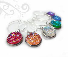 Set of 6 Faux Rainbow Crystal Druzy Wine Glass Charms Red Orange Blue Green
