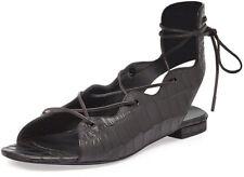 Saint Laurent Babies Croc-Embossed Lace-Up Flat, Black MSRP: $695 Size:36.5