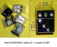 5 pezzi Relè Relais MATSUSHITA con bobina 12 V, 1 scambio 5A 250V -made in Japan