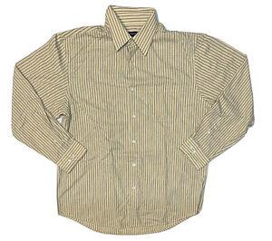 Van Heusen Dress Shirt Adult Large Men's Long Sleeve Button-Front Yellow Striped