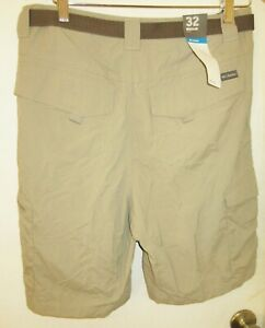 $45 Columbia Omni Shade men sz 32 brown athletic cargo shorts part elastic waist
