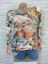 flauschig Feinstrick Shirt Pulli Pullover Lurex Kanten Print 42 44 46 ITALY E796
