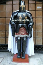 Black Medieval Full Suit of Crusader Armor LARP Costume