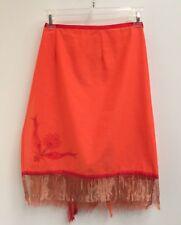 Vintage 90s Orange Silk Blend Wrap Skirt Womens Sheer Metallic Trim (1428)