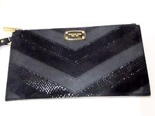 69fbd7c514e959 Michael Kors Jet Set Black Suede Leather Wallet Large Wristlet Zip Clutch