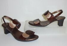 Sbicca Brown & Gold/Beige Circle Sandals Size 8.5 1/2 Shoes Slingback Heels