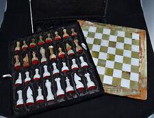 N°5603 SCACCHI E SCACCHIERA IN ONICE 30x30 + SCATOLA . PIETRA DURA