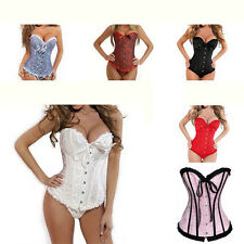 Chic Womens Satin Lace up Corset Brocade Floral Bustier Wedding Lingeries S-6XL