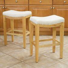 (Set of 2) Dining Room Beige Hardwood Backless Counter Stools