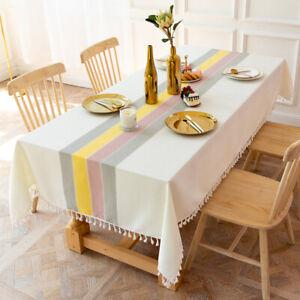 Cotton Linen Rectangle Tablecloth Striped Table Cloth