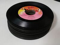 Lot of 25 45 rpm Vinyl Records for Crafts, Art, and Decorations 7 inches