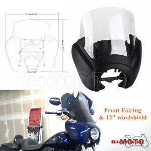 Front Headlight Fairing For Harley Softail Street Bob FXBB FXST w/ Mounting Kit