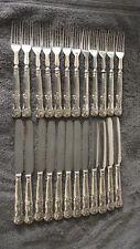 Antique Sterling Silver Aaron Hadfield Georgian Kings set 24 flatware