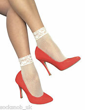 2 Pairs Ladies Fashion Colourful Low Cut Sexy Fishnet Ankle Socks with Lace Trim
