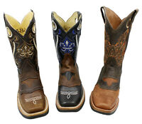 MEN'S RODEO COWBOY BOOTS GENUINE LEATHER WESTERN SQUARE TOE BOTAS #CR700