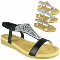 Ladies Diamante Low Wedge Comfy Strap Summer Womens Peeptoe Sandals Shoes Sizes