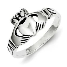 Ladies 925 Sterling Silver Antique Finish & Polished Claddagh Ring Size 6 - 8