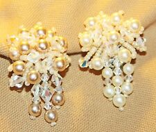 VINTAGE LOIS ANN CLUSTER DANGLE  BLUSH PEARL,BEADED CLIP SIGNED EARRINGS