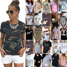 Plus Size Women Print Top T-Shirt Short Sleeve Summer Casual Blouse Basic Tee UK