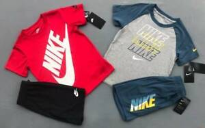 BOY'S SIZE 7 NIKE GRAY AND RED SHORTS OUTFITS LOT NWT