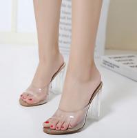 Ladies Sandals Transparent Plastic Peep Toe High Heel Shoes Slipers Stilettos