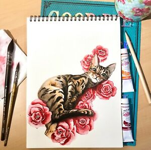 Custom pet portraits in watercolour A4 Gift for pet owner. Gifts for dog lovers