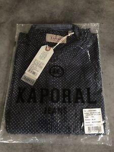 CHEMISE KAPORAL manche Longue 100% Coton Bleu Micro Motif  T.XXL Slim Homme
