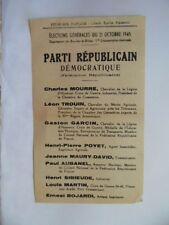 DOCUMENT ELECTIONS 21 OCTOBRE 1945 PARTI REPUBLICAIN / TRACT POLITIQUE