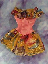 Barbie Peach Ruffle Off the Shoulder Sparkle Print Dress